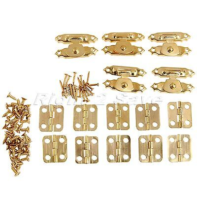 5*Gold Box Latch Hasps+10pcs Hinges+Screws+Nails Jewelry Gift Chests Decorative