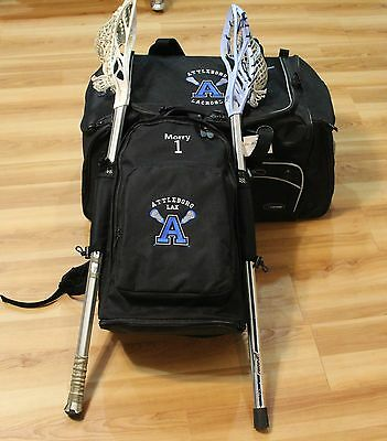LACROSSE PLAYER GEAR BACKPACK has 2 stick holders PERSONALIZED FREE