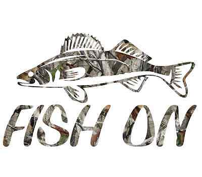 Camouflage fish on walleye sticker camo print decal