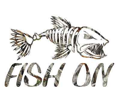 Camouflage fish on skillet fishing sticker camo print decal