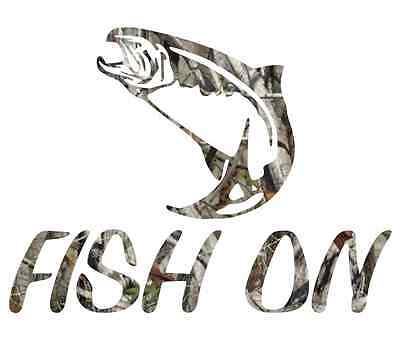 "8"" Camouflage fish on fisherman steelhead fishing sticker camo print decal"