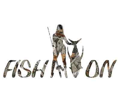 Camo fishing sticker chick woman