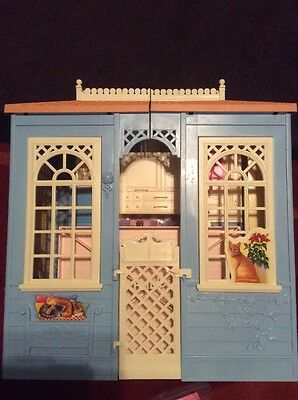 Barbie Doll House Blue Cottage Mattel Transforming Rooms Folding + accessories