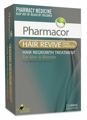 PHARMACOR HAIR LOSS REVIVE 5% MINOXIDIL 2 x 60ML MENS & WOMENS SAME AS REGAINE!