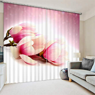 Magnolia Flowers 3D Customize Blockout Photo Curtains Print Home Window Decor
