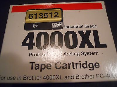 """BROTHER 4000XL BLACK ON CLEAR 1/4"""" (6 mm) LABEL TAPE"""