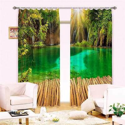 Green Lake Forest 3D Customize Blockout Photo Curtains Print Home Window Decor