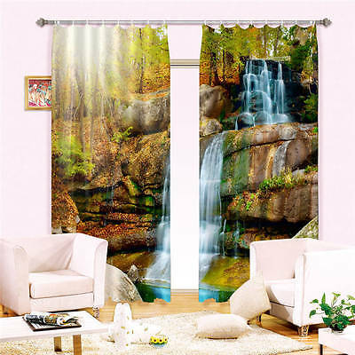 Sunshine Waterfall 3D Customize Blockout Photo Curtains Print Home Window Decor