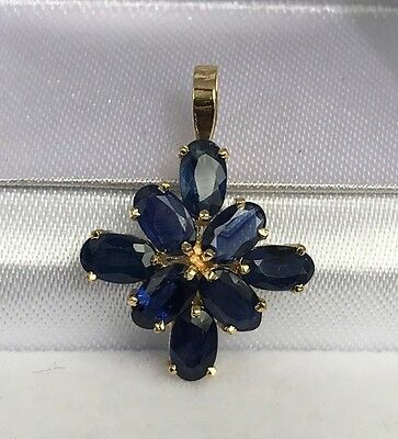 14k Solid Yellow Gold Small Flower Pendant, Natural Sapphire