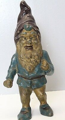 antiqu Rare original hand painted cast iron  garden gnome elf door stoop marked