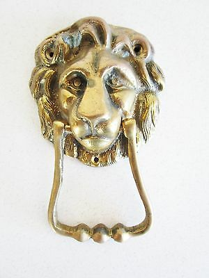 Vintage Brass door knocker Lion Mid Century King of Jungle Animal lover Cat