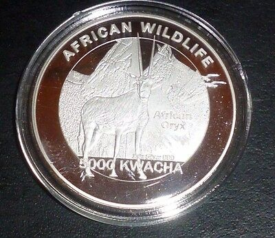 2016 African Wildlife  Zambia African Oryx 5000 Kwacha 1 Oz Silver Plate