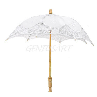 "23""Lace Cotton Parasol Bridal Wedding Classic Decoration Girl Umbrella White NEW"