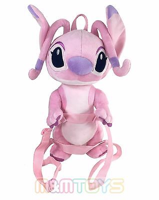 """Disney Lilo and Stitch Angel Pink 16"""" Soft  2 in 1 Plush Backpack A09186"""