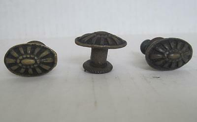 Lot of 3 Antique Phonograph Knobs Vintage Cabinet Pulls Phonograph Parts (#90)
