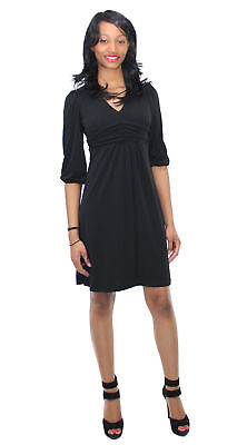 NY Collection Women's 3/4 Sleeve Empire Waist Jersey Dress