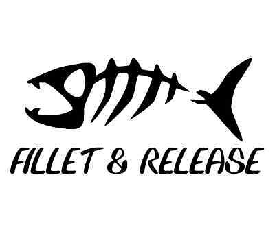 fillet & release decal fly fishing car boat window bumper sticker perfect gift
