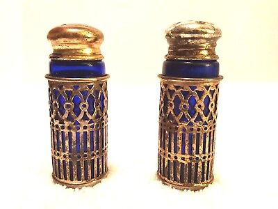 "Antique Fb Rogers 2.75"" Cobalt Blue Glass Silver-Plate Salt & Pepper Shakers"