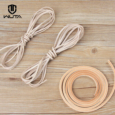 2X Natural Veg tanned Leather Cord Flat Thong String Lace Leather Craft  1M