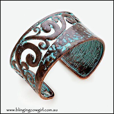 Copper Patina Vine Filigree Cuff Bracelet  Boho Gypsy Cowgirl Turquoise Rustic