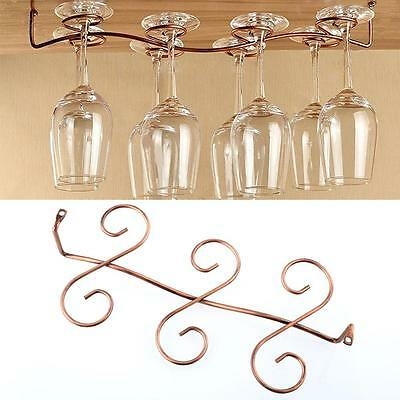 6 Wine Glass Rack Stemware Under Cabinet Holder Hanger Shelf Bar Kitchen Display • AUD 6.39