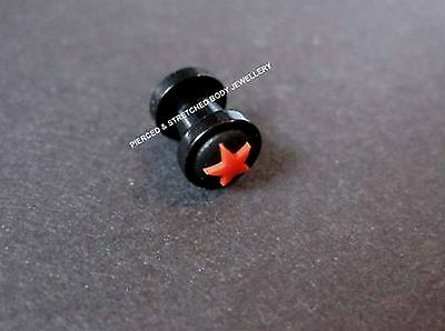 ONE 5mm Star Ear Plug Silicone Black back ground With Red Star - Tunnels & Plugs