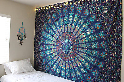Indian Mandala Wall Hanging Hippie Tapestry Throw Bedspread Feather Peacock Art