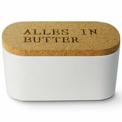Butter Dish - Porcelain Butter Keeper with Cork Lid, White - by Sweese Tableware