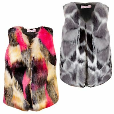 Girls Sleeveless Faux Fur Gilet Winter Vest Outerwear Body Warmer 3-14 Years