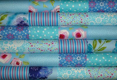 24 Light Blue Mixed cotton fabric quilting 5 inch squares #56b