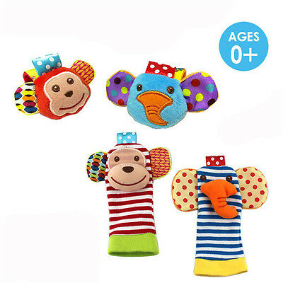 2 Pcs/Set Newborn Baby Infant Animal Toys Wrist Rattles Hand Bells Foot Socks