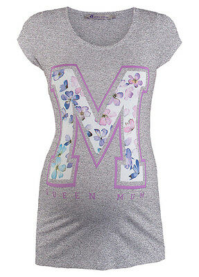 NEW - Queen mum - M Floral Stencil T-Shirt in Grey - Maternity Tee