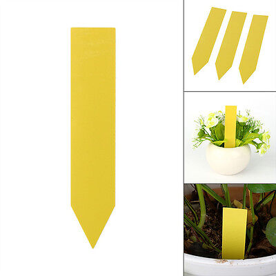 100Pcs 4'' Reusable Garden Plant Pot Marker Plastic Yellow Stake Tag Seed Labels