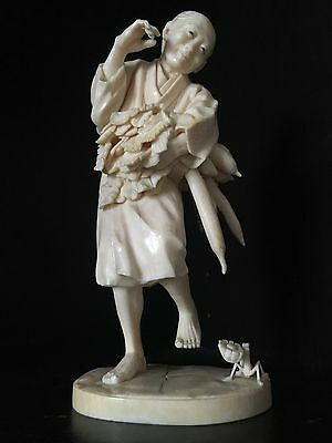 A Museum Quality Japanese Okimono Signed ! Not Netsuke Peasant and insect Meiji