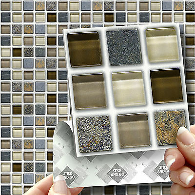 18 Stick & Go Glass Stone Stick On Wall Tiles Stickers for Kitchen & Bathroom