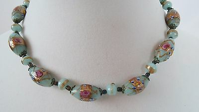 Antique Victorian Lamp Work Wedding Cake Venetian Glass Beaded Necklace
