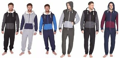 New Mens Soft Warm Fleece Hooded Jumpsuit BodySuit  Onezee All in One S-XL Gift