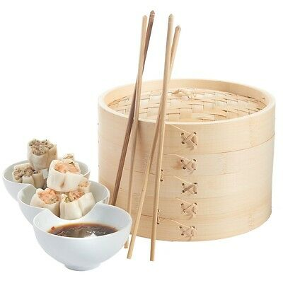 Real Bamboo 2 Tier Food Vegetable Bamboo Steamer Round 21cm with Lid Steamer New