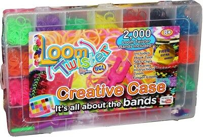 2500 Colourful Mix Rubber Loom Bands Craft Making Kit Box Kids Xmas Gift Set New