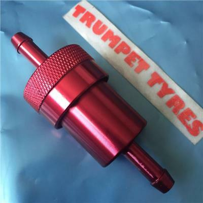 6Mm Anodised Red Inline Fuel Filter Motorcycle Motorbike Moped Scooter Trials Mx
