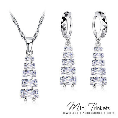 925 Silver Cubic Zirconia Cascading Pyramid Necklace & Earring Set Women Gift