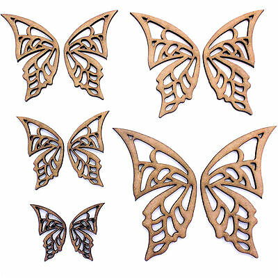Fairy / Butterfly Wings (Pairs) Craft Shape, Various Sizes, 2mm MDF Wood.