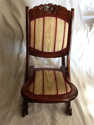 Vintage Wood Folding Rocking Chair Tapestry Fabric Seat & Outside Stitched Back