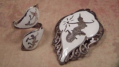 Siam Sterling Vintage Brooch and Ring