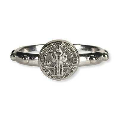 St Saint Benedict Small Steel Rosary Ring