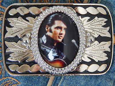 New Handcrafted Elvis Presley Belt Buckle Silver / Black Metal,rock N Roll,music