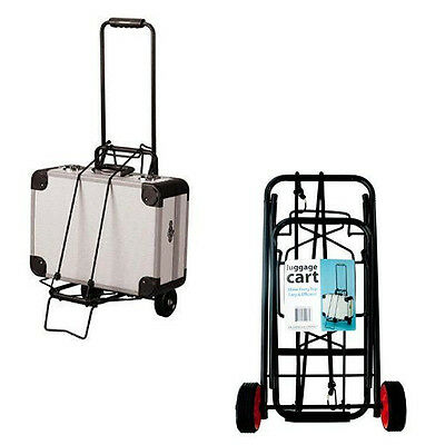 Portable Folding Luggage Cart Travel Compact Suitcase Carrier Wheel Trolley Cart