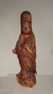 Antique Chinese Japanese Carved Figure of Kwan Yin Rootwood Sculpture Signed