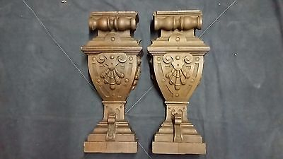 "Matching Pair of Antique 20"" Carved English Oak Shelf Corbels"