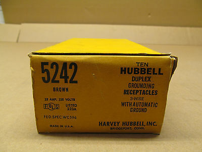 10 Nib Hubbell Hbl5242 5242 Receptacle Nema 5-15R 15A 125V 3W Brown(2 Available)
